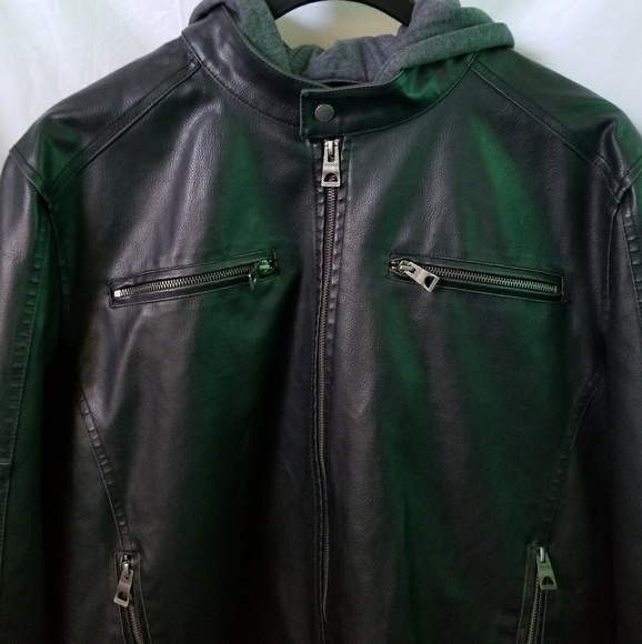 Guess Jackets Coats Mens Faux Leather Hooded Moto Jacket Poshmark